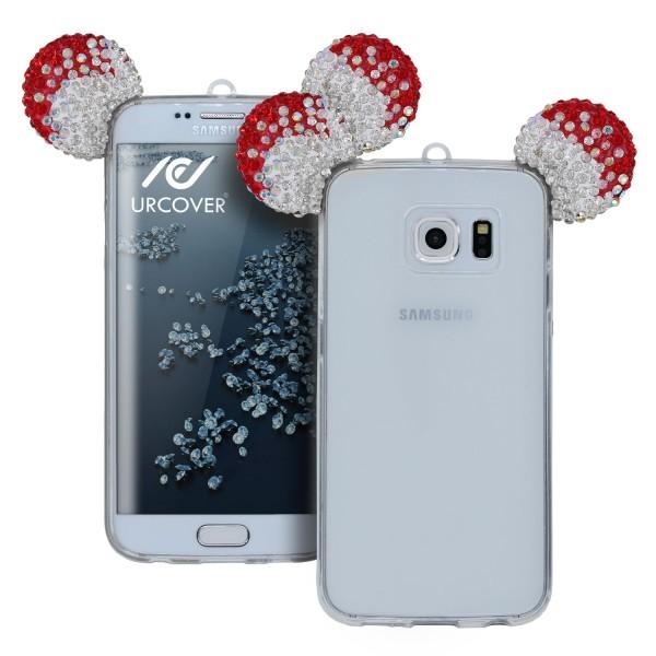Samsung Galaxy S6 Edge Plus Maus Strass Ohren Bling Schutz Hülle Glitzer Cover