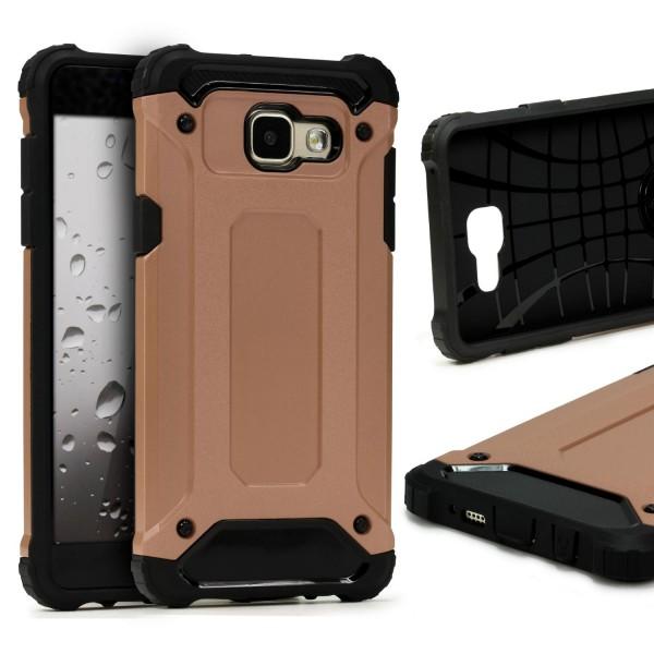 Samsung Galaxy A3 (2016) OUTDOOR Schutz Hülle TOP Cover Back Case Carbon Optik