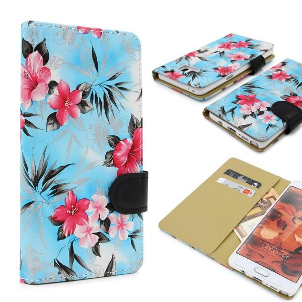 Urcover® Samsung Galaxy Note 7 Schutz Hülle Blumenmuster Kartenfächer Ständer