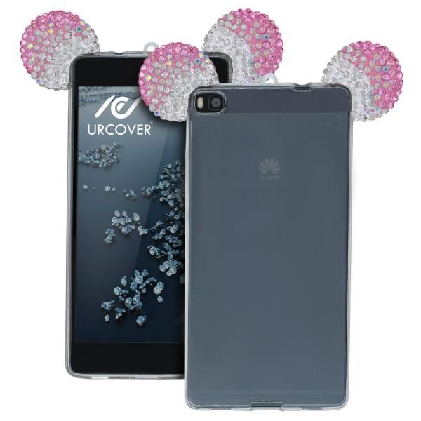 Huawei P8 Maus Strass Ohren Bling Ear Schutz Hülle Glitzer Cover Case