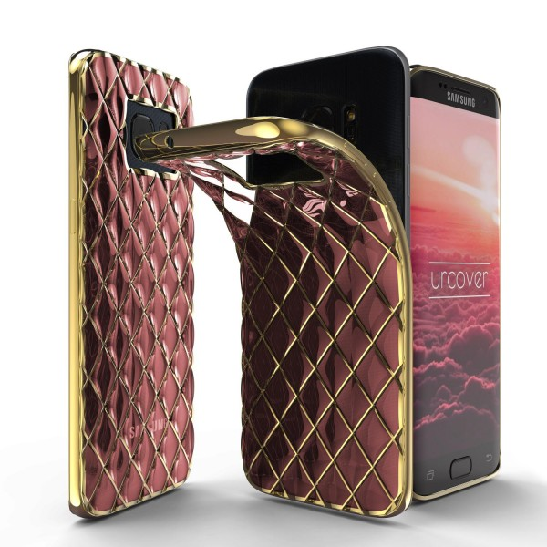 Urcover® Samsung Galaxy S7 Edge Schutz Hülle Quilted Diamond Design Case Cover