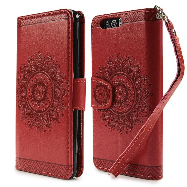 Urcover® Huawei Honor 9 Schutz Hülle Wallet Klapp Schale Lotus Pattern Case Cover