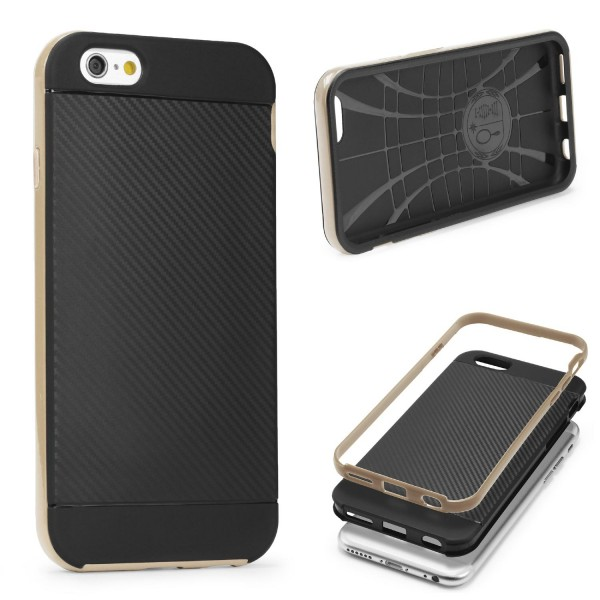 Apple iPhone 6 Plus / 6s Plus Case Carbon Style Cover Dual Layer Schutzhülle TPU