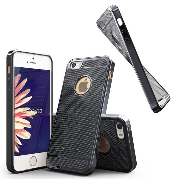 Urcover® Apple iPhone 5 / 5s / SE Schutz Hülle Metall Optik Silikon Soft Case
