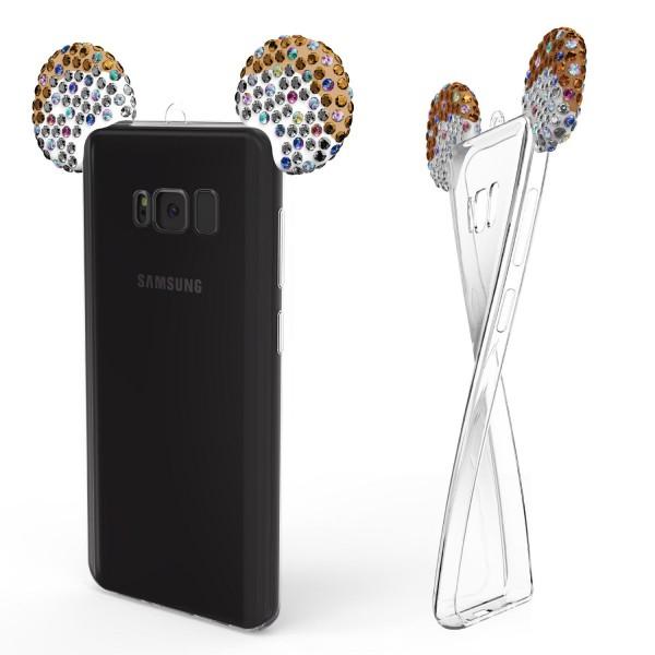 Samsung Galaxy S8 Maus Strass Ohren Bling Ear Schutz Hülle Glitzer Cover Case