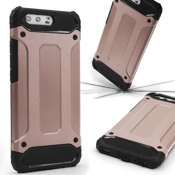 Huawei P10 OUTDOOR Schutz Hülle TOP Cover Backcase Carbon Optik Etui Schale