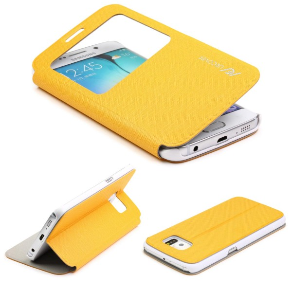 Samsung Galaxy S6 Edge Plus View Case Schutz Hülle Wallet Cover Etui Tasche