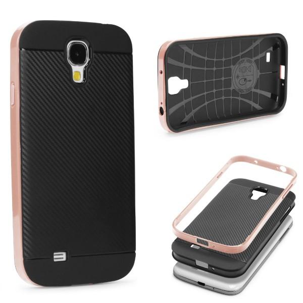Samsung Galaxy S4 Back Case Carbon Style Cover Dual Layer Schutzhülle TPU