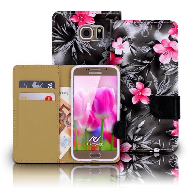 Urcover® Samsung Galaxy S6 Schutz Hülle Blumenmuster Kartenfächer Ständer Tasche