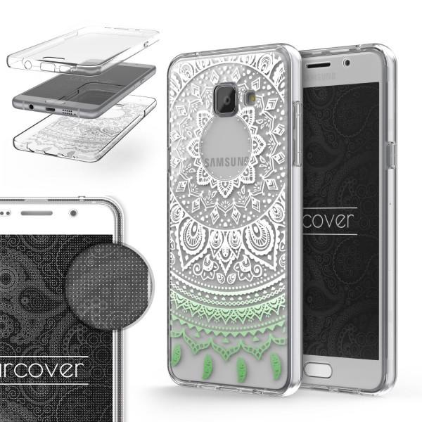 Samsung Galaxy A5 (2016) 360 Grad Mandala Rücken Hülle Case Cover Rundum Schutz