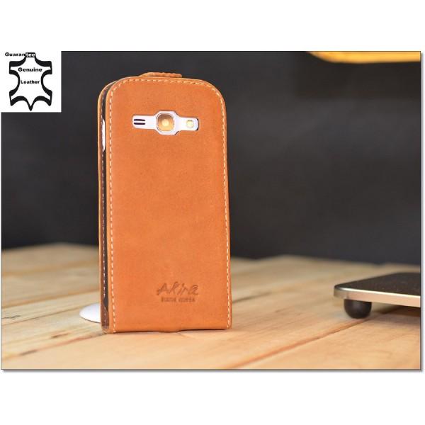 Akira Samsung Galaxy Ace 3 Echtleder Schutzhülle Flip Ledertasche Wallet Cover