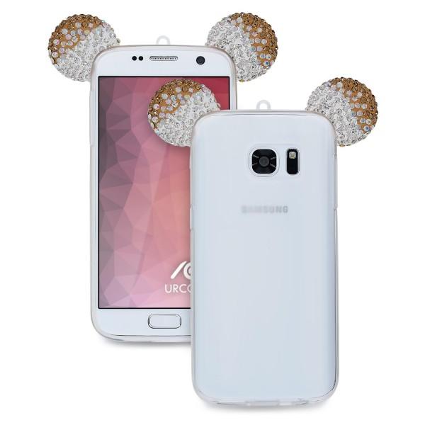 Samsung Galaxy S7 TPU Maus Ohren Bling Ear Schutz Hülle Cover Glitzer