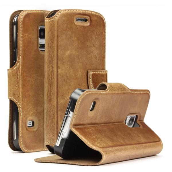 Samsung Galaxy S5 Mini Handgemachte Echt Leder Schutz Hülle Case Cover Etui