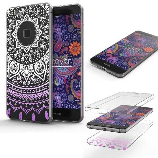 Huawei P10 Lite TPU 360° Grad Rundum Schutz Hülle Mandala Case Cover Schale Etui