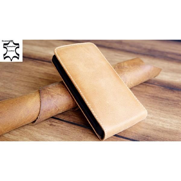 Original Akira Hand Made [Echt Leder] Handyhülle Sony Xperia E1 Cover Handgemacht Case Schutzhülle Etui Flip Wallet Pen [DEUTSCHER FACHHANDEL] Braun