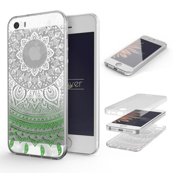 Apple iPhone 5 / 5s / SE 360 Grad Mandala Rücken Hülle Case Cover Rundum Schutz