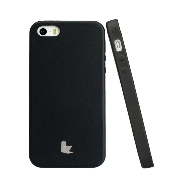 iPhone 5 Hülle von Original Jisoncase® Hülle für das Apple iPhone 5/5s Case Etui Cover Schutzhülle [deutscher Fachhandel] Backcover [Hand Made] Schwarz
