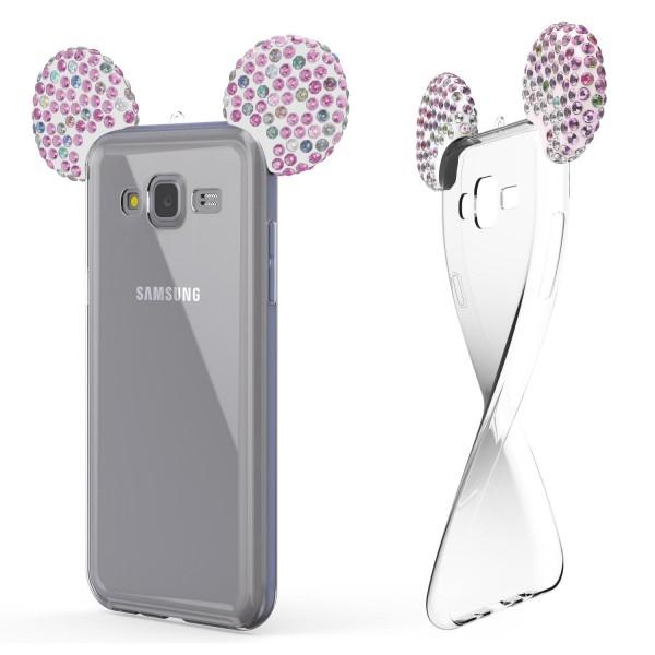Samsung Galaxy J3 (2015) TPU Maus Ohren Bling Ear Schutz Hülle Cover Glitzer