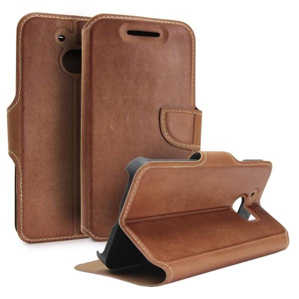 Akira HTC One M10 Echtleder Schutzhülle Case Cover Wallet Flip Vintage Handmade