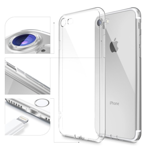 Apple iPhone 7 Ultra Slim Soft Backcase Kamera Schutz Hülle Silikon Cover Case