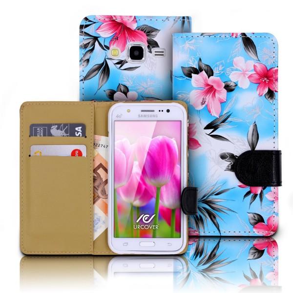 Urcover® Samsung Galaxy J5 (2015) Schutz Hülle Blumenmuster Kartenfächer Ständer