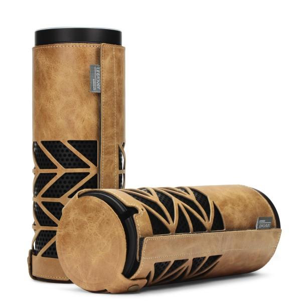 Urcover® Amazon Echo Echt Leder Hülle Premium handvernäht Rindsleder handmade