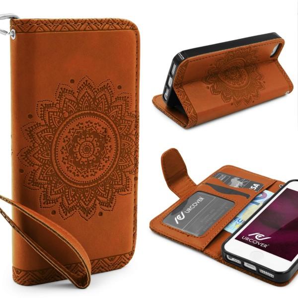 Apple iPhone 5 / 5s / SE Schutz Hülle Wallet Klapp Schale Lotus Pattern Case
