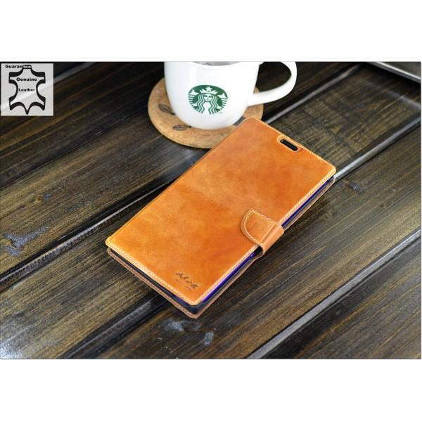 Original Akira Hand Made [Echt Leder] Handyhülle Sony Z Ultra Cover Handgemacht Case Schutzhülle Etui Flip Wallet Pen [DEUTSCHER FACHHANDEL] Braun