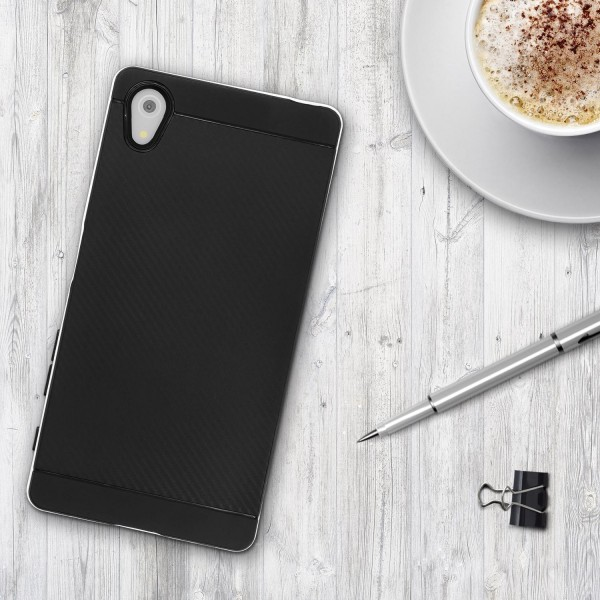 Sony Xperia Z5 Back Case Carbon Style Cover Dual Layer Schutzhülle TPU Schale