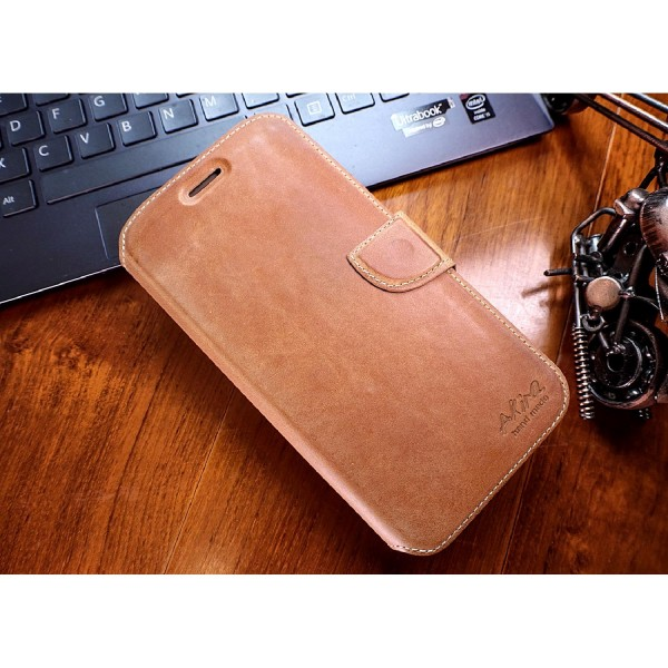 Akira Samsung Galaxy A8 (2015) Echtleder Schutz Hülle Flip Cover Wallet Case Etui
