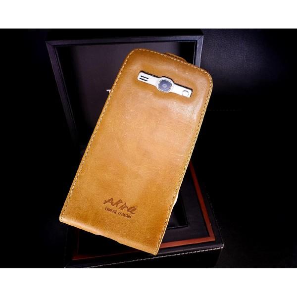Akira Samsung Core Plus G 350 Handmade Echtleder Schutzhülle Flip Ledertasche