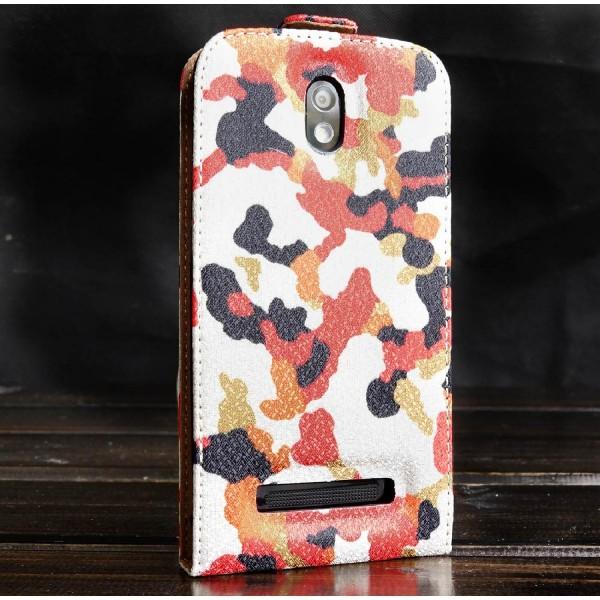 Urcover® HTC Desire 500 Kunststoff Flip Schutzhülle Tarn Optik Case Cover