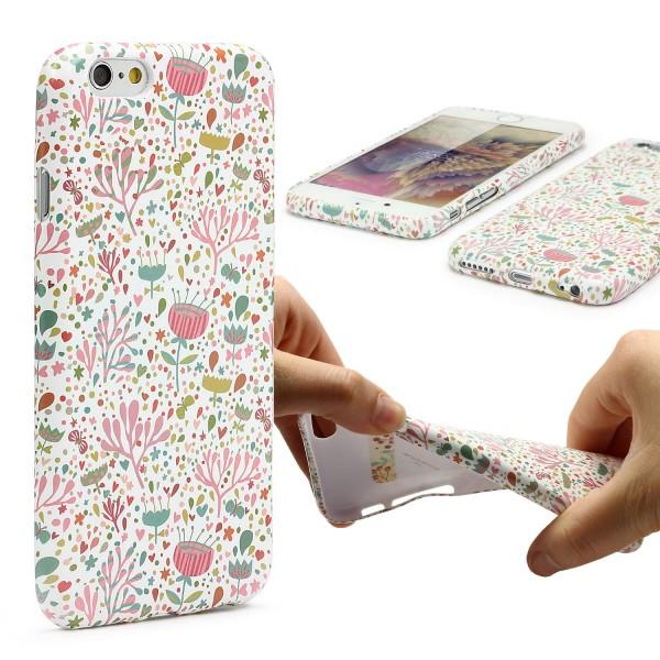 Urcover® Apple iPhone 6 Plus 6s Plus Blumenmuster Schutzhülle TPU Felxibel Case