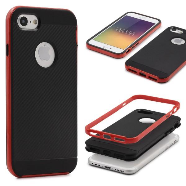 Apple iPhone 7 Back Case Carbon Style Cover Dual Layer Schutzhülle TPU Schale